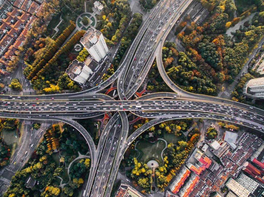 Complex motorway junctions from overhead
