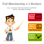 Discounted - Full Membership for 1 student of TheMathsTutor.ie support system until 15 June 2021