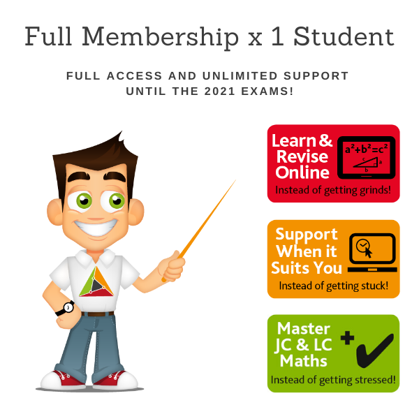 Discounted – Full Membership for 1 student of TheMathsTutor.ie support system until 15 June 2021