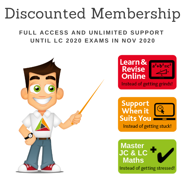Discounted – Full Membership for 1 student of TheMathsTutor.ie support system until Nov 2020 Exams